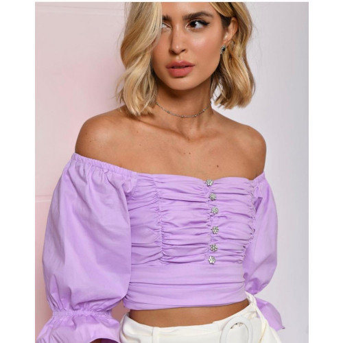 CROPPED TRICOLINE LILAS