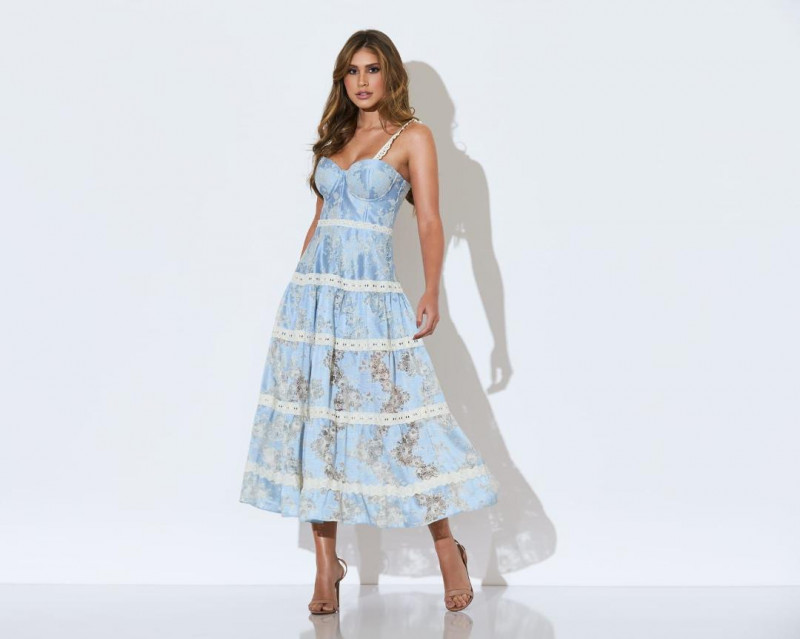 Vestido Midi Renda Azul Diane